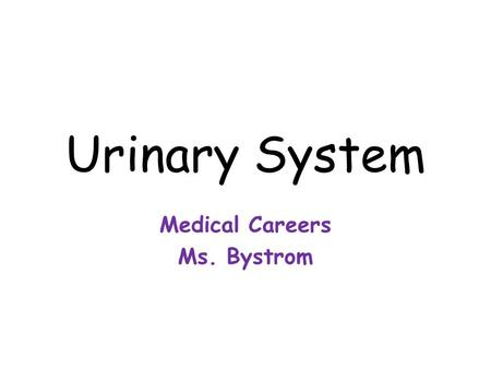 Urinary System Medical Careers Ms. Bystrom. Functions 1.Excretion: removing waste from blood 2.Secretion: separation of certain materials from the blood.