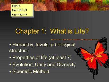 Chapter 1: What is Life? Hierarchy, levels of biological structure Properties of life (at least 7) Evolution, Unity and Diversity Scientific Method Fig.