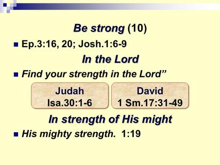 "Be strong Be strong (10) Ep.3:16, 20; Josh.1:6-9 In the Lord Find your strength in the Lord"" In strength of His might His mighty strength. 1:19 Judah Isa.30:1-6."