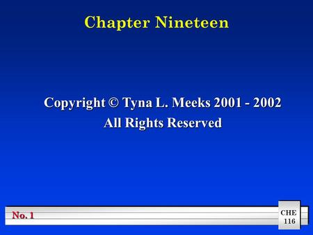 CHE 116 No. 1 Chapter Nineteen Copyright © Tyna L. Meeks 2001 - 2002 All Rights Reserved.