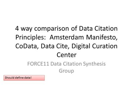 4 way comparison of Data Citation Principles: Amsterdam Manifesto, CoData, Data Cite, Digital Curation Center FORCE11 Data Citation Synthesis Group Should.