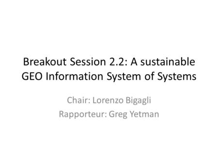 Breakout Session 2.2: A sustainable GEO Information System of Systems Chair: Lorenzo Bigagli Rapporteur: Greg Yetman.