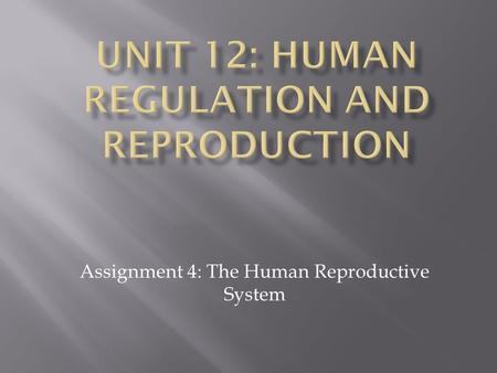 Assignment 4: The Human Reproductive System.  Starter:- Sort the keywords into two lists: one for the male system and one for the female system MaleFemale.
