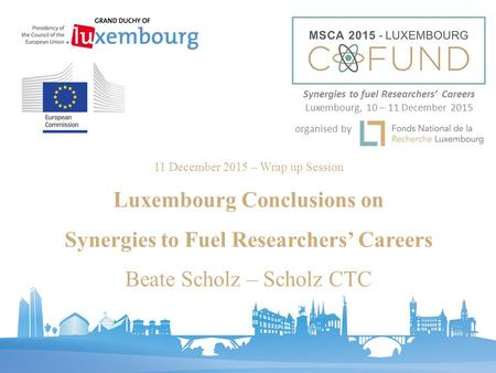 11 December 2015 – Wrap up Session Luxembourg Conclusions on Synergies to Fuel Researchers' Careers Beate Scholz – Scholz CTC Synergies to fuel Researchers'
