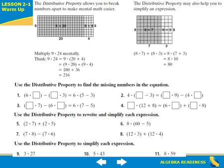 ALGEBRA READINESS LESSON 2-1 Warm Up Lesson 2-1 Warm Up.