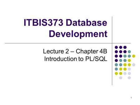 1 ITBIS373 Database Development Lecture 2 – Chapter 4B Introduction to PL/SQL.