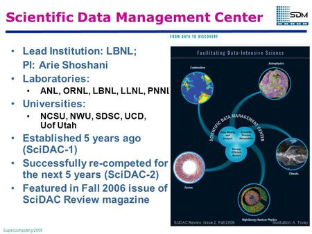 Supercomputing 2006 Scientific Data Management Center Lead Institution: LBNL; PI: Arie Shoshani Laboratories: ANL, ORNL, LBNL, LLNL, PNNL Universities: