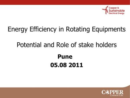 Energy Efficiency in Rotating Equipments Potential and Role of stake holders Pune 05.08 2011.