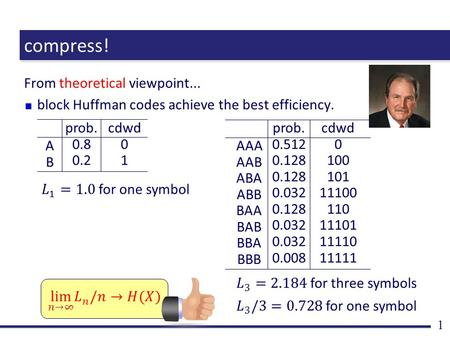 Compress! From theoretical viewpoint... block Huffman codes achieve the best efficiency. 1 ABAB prob. 0.8 0.2 cdwd 0 1 AAA AAB ABA ABB BAA BAB BBA BBB.