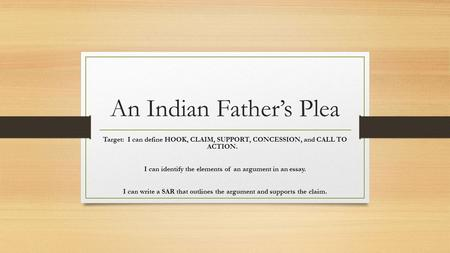 An Indian Father's Plea