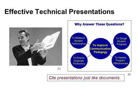 Effective Technical Presentations [1] [2] Cite presentations just like documents.