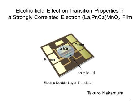 Electric-field Effect on Transition Properties in a Strongly Correlated Electron (La,Pr,Ca)MnO 3 Film Electric Double Layer Transistor Source Drain Gate.