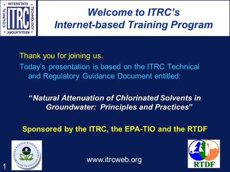 Welcome to ITRC's Internet-based Training Program