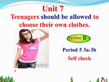 Unit 7 Teenagers should be allowed to choose their own clothes. Section B Period 5 3a-3b Self check *
