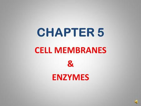 CHAPTER 5 CELL MEMBRANES & ENZYMES MEMBRANE STRUCTURE AND FUNCTION Copyright © 2009 Pearson Education, Inc.
