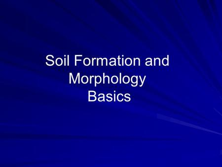 Soil Formation and Morphology Basics.