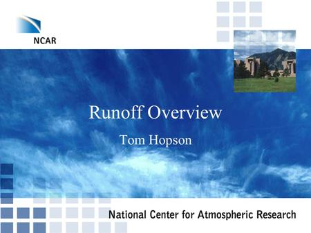 Runoff Overview Tom Hopson.