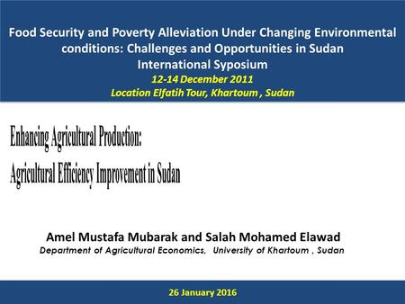 Food Security and Poverty Alleviation Under Changing Environmental conditions: Challenges and Opportunities in Sudan International Syposium 12-14 December.