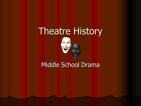 Theatre History Middle School Drama. Theatre History Plato Lived in the 4 th century BC Lived in the 4 th century BC Considered one of the greatest thinkers.