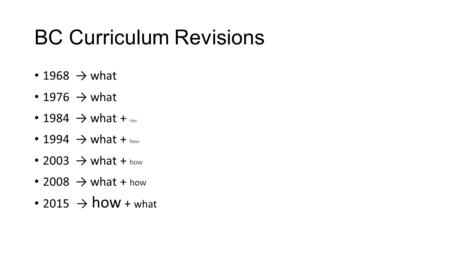 BC Curriculum Revisions 1968 → what 1976 → what 1984 → what + how 1994 → what + how 2003 → what + how 2008 → what + how 2015 → how + what.