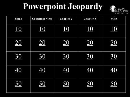 Powerpoint Jeopardy VocabCouncil of NiceaChapter 2Chapter 3Misc 10 20 30 40 50.