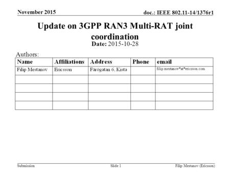 Submission doc.: IEEE 802.11-14/1376r1 November 2015 Filip Mestanov (Ericsson)Slide 1 Update on 3GPP RAN3 Multi-RAT joint coordination Date: 2015-10-28.