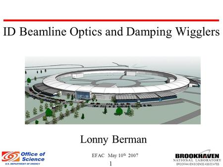 1 BROOKHAVEN SCIENCE ASSOCIATES Lonny Berman EFAC May 10 th 2007 ID Beamline Optics and Damping Wigglers.