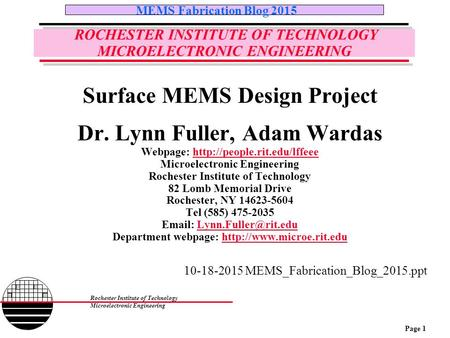 ROCHESTER INSTITUTE OF TECHNOLOGY MICROELECTRONIC ENGINEERING