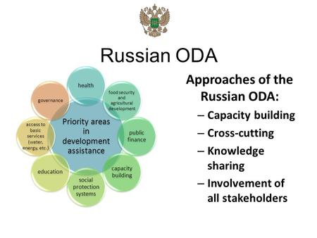 Russian ODA Priority areas in development assistance health food security and agricultural development public finance capacity building social protectio.