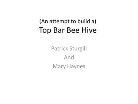 (An attempt to build a) Top Bar Bee Hive Patrick Sturgill And Mary Haynes.