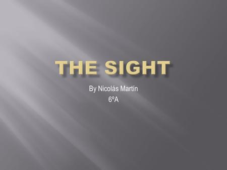 By Nicolás Martín 6ºA The sight is the sense that lets you see things with your eyes. Your eyes can detect information of the things around you.