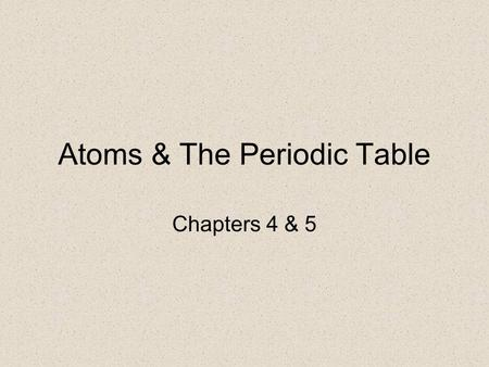 Atoms & The Periodic Table Chapters 4 & 5. John Dalton developed an atomic theory in 1808. Dalton's was the first atomic theory with a scientific basis.