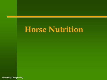 University of Wyoming Horse Nutrition. University of Wyoming n Feed at the same time each day n Feed horses on an individual basis n Feed horses at least.