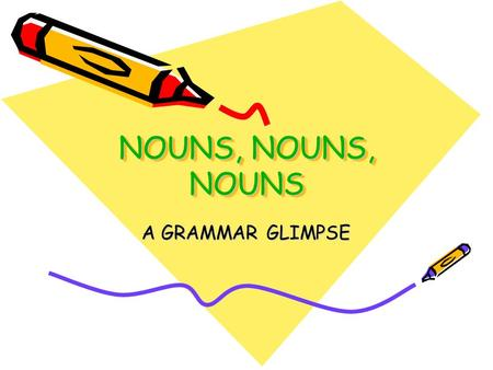 NOUNS, NOUNS, NOUNS A GRAMMAR GLIMPSE. NOUNS A noun is a word that names a person, animal, place, thing, or idea. There are more nouns in the English.