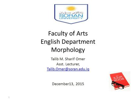 Faculty of Arts English Department Morphology