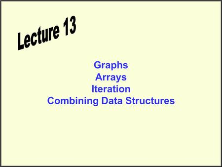 Graphs Arrays Iteration Combining Data Structures.