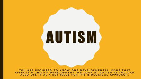 AUTISM YOU ARE REQUIRED TO KNOW ONE DEVELOPMENTAL ISSUE THAT AFFECTS A CHILD'S DEVELOPMENT. WE LOOK AT AUTISM AS YOU CAN ALSO USE IT AS A KEY ISSUE FOR.