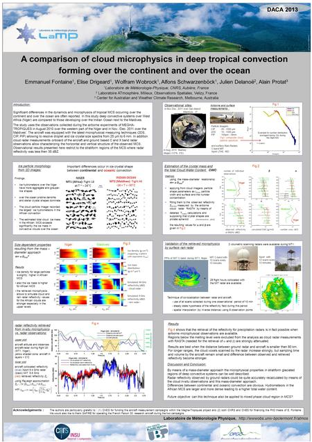 A comparison of cloud microphysics in deep tropical convection forming over the continent and over the ocean Emmanuel Fontaine 1, Elise Drigeard 1, Wolfram.