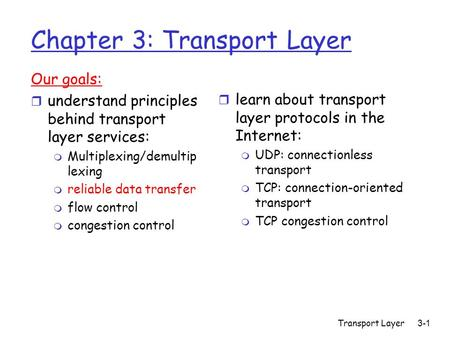 Transport Layer 3-1 Chapter 3: Transport Layer Our goals: r understand principles behind transport layer services: m Multiplexing/demultip lexing m reliable.