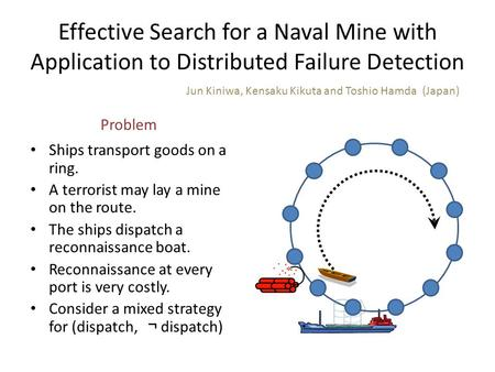 Effective Search for a Naval Mine with Application to Distributed Failure Detection Ships transport goods on a ring. A terrorist may lay a mine on the.