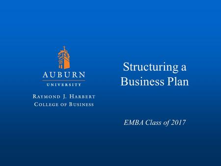 Structuring a Business Plan EMBA Class of 2017. Why Create a Business Plan?
