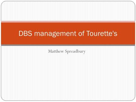 DBS management of Tourette's