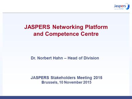 JASPERS Networking Platform and Competence Centre