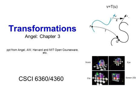 Transformations Angel: Chapter 3 ppt from Angel, AW, Harvard and MIT Open Courseware, etc. CSCI 6360/4360 v=T(u)