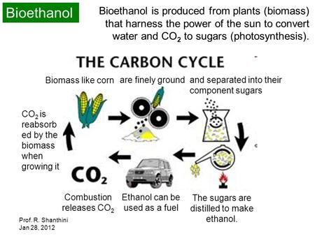 Bioethanol Bioethanol is produced from plants (biomass) that harness the power of the sun to convert water and CO2 to sugars (photosynthesis). Biomass.