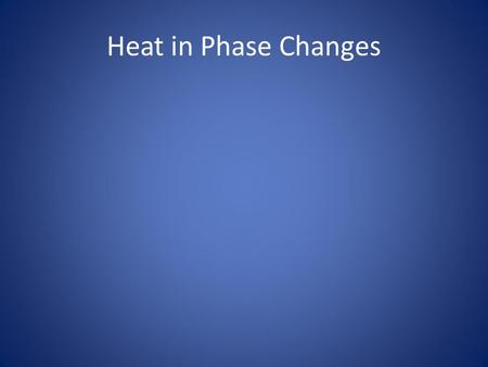Heat in Phase Changes. Review So far we've learned that: –Energy is the capacity to do work or cause a temperature change. –Heat is the movement of energy.