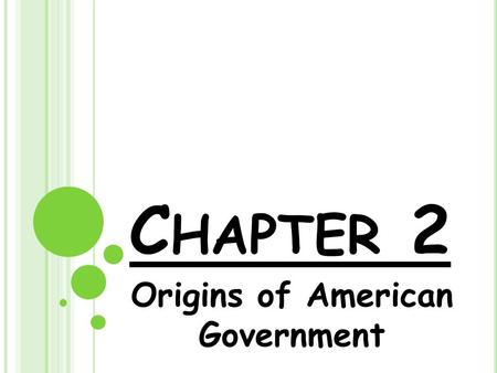 C HAPTER 2 Origins of American Government. B ASIC C ONCEPTS OF G OVERNMENT Ordered Government: Sheriff, Coroner, Assessor, Townships, Counties Limited.