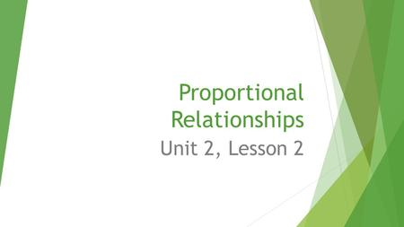 Proportional Relationships Unit 2, Lesson 2. Title your notebook Across the top of the page, write the following: Unit 2 Lesson 2 Proportional Relationships.
