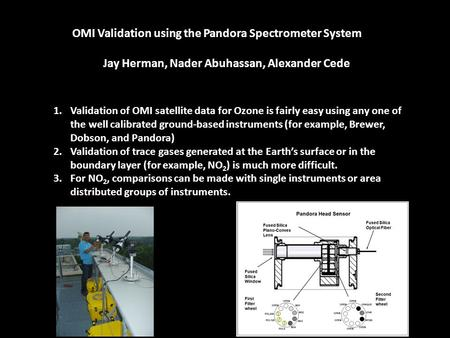 OMI Validation using the Pandora Spectrometer System Jay Herman, Nader Abuhassan, Alexander Cede 1.Validation of OMI satellite data for Ozone is fairly.