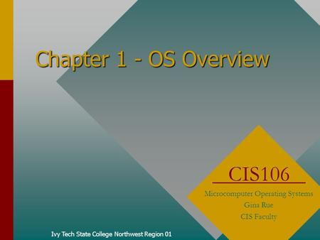 Chapter 1 - OS Overview Ivy Tech State College Northwest Region 01 CIS106 Microcomputer Operating Systems Gina Rue CIS Faculty.